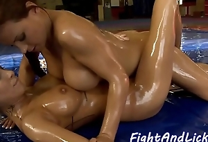 Lesbos oildeup and ready to eat pussy