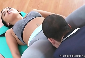 Fitness coach fucks black-hearted nymph
