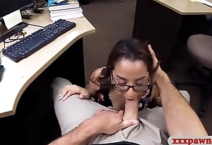 Cute coed with glasses railed by pawn man with his office