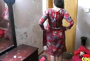 Indian cute girl Jyoti from Delhi changing dress red bra breast show