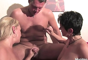 Busty german milfs sharing two dicks