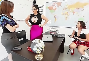 Teacher sara jay thing embrace pupil gia in class