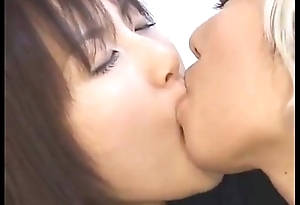 Japanese Lesbian Schoolgirl Kissing Another Girl in Play up perform