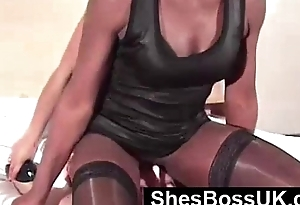 Worthless submissive serves British Dommes, licking pussy