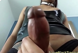 Black tgirl doggystyling asian tranny
