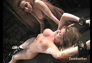 Entertaining blonde tart likes having her wet crack pleasured regarding the dungeon