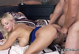 Busty flaxen-haired Milf rimmed and banged till got creampie