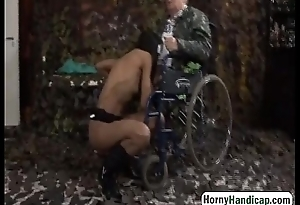 Disabled grandpa gets accidental with sexy brunette