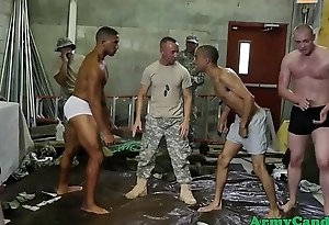 Muscled army studs fuck with an increment of suck