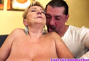 Chubby mature fucked in excess of the couch