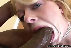 Blue eyed blonde takes cock deep down throat