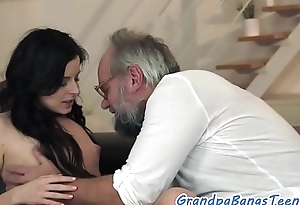 Teenager babe screwed overwrought classy grandad