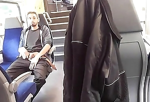 Exhibitionist shows his dick on burnish apply train