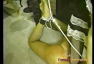 Two hot fillies make a hung stallion suck on a long vibrator