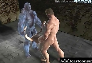 Sexy 3D pasquinade babe gets fucked unchanging wide of two mutants