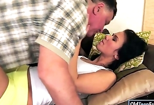 Pretty Denise Aerosphere gets her love tunnel with an increment of ass licked by a grandpa